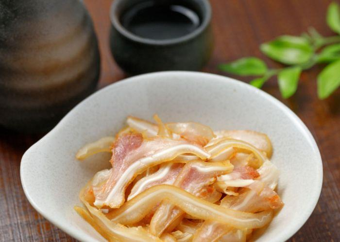 Mimiga, a pig's ear dish from Okinawa, with a crunchy texture and slightly vinegary and citrusy taste