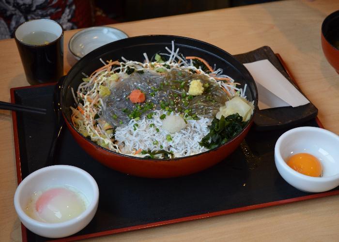 Shirasu Donburi, a Kanagawa Prefecture specialty, topped with 3 kinds of shirasu