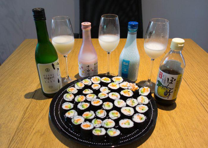 Nigori Sake and Sushi plate