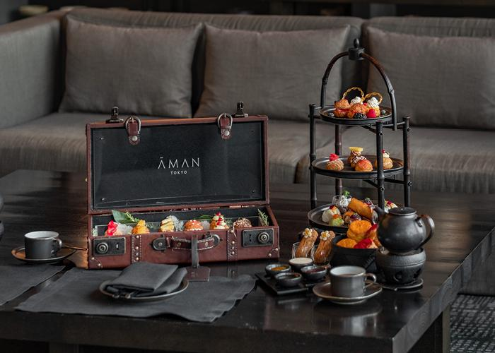Aman Tokyo full afternoon tea platter including trunk of treats