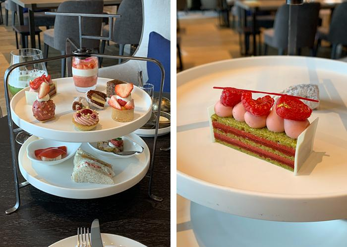 Four Seasons full afternoon tea platter contents with details of the sweet and savory treats