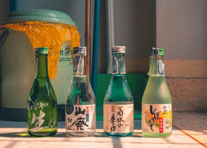 Four bottles of nihonshu lined up