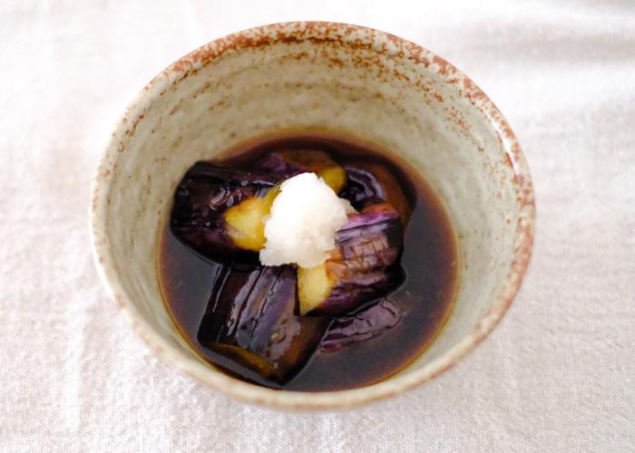 Simmered Japanese eggplant dish