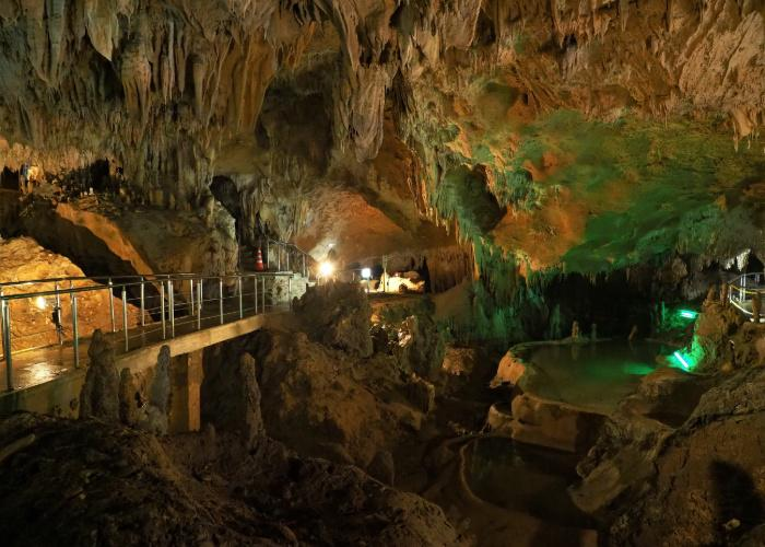Inside Ishigaki island's limestone cave, a natural local attraction