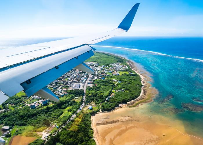 View of Ishigaki Island from the plane window