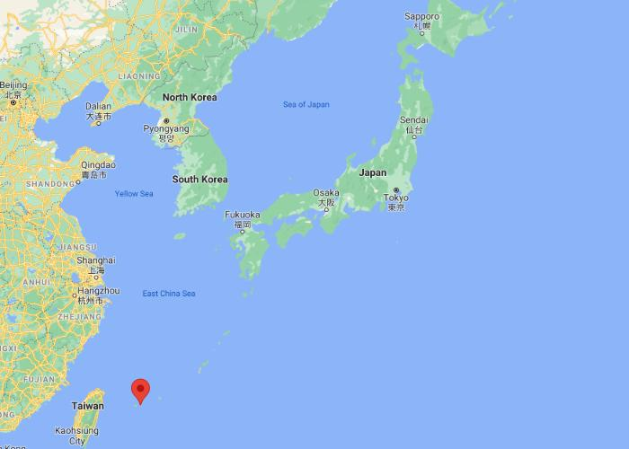 Map of Ishigaki Island showing its location relative to Taiwan and mainland Japan