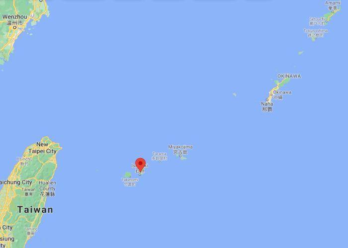 Ishigaki map showing location relative to Taiwan and Naha