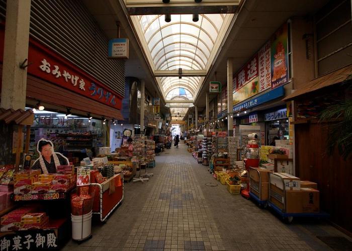Shot of the shopping street, Ishigaki City Public Market, lined with shops