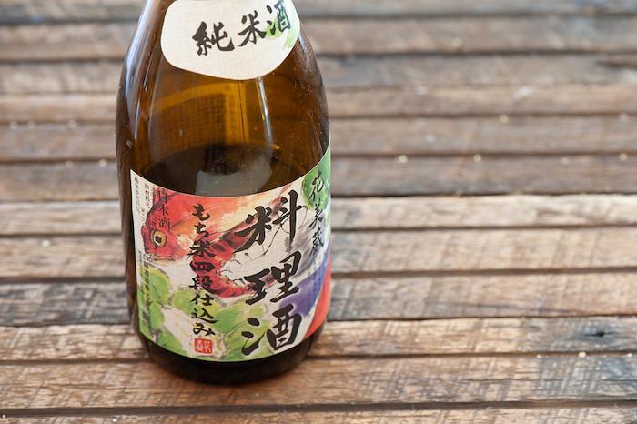 Cooking sake ryorishu on a wooden table
