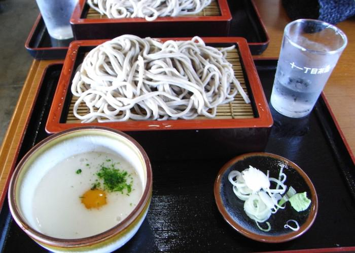 Tororo Soba on a tray, with the noodles and bowl of toppings plated separately