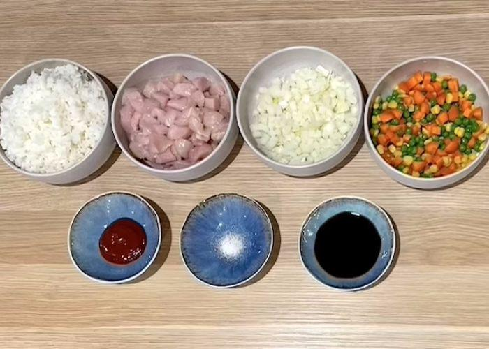 Omurice Japanese fried rice ingredients in various bowls