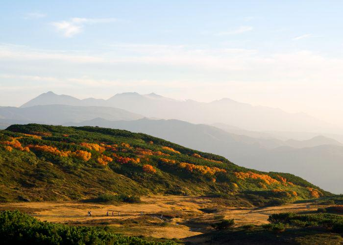 Long distance shot of the hills of Daisetsuzan dotted with red and orange foliage