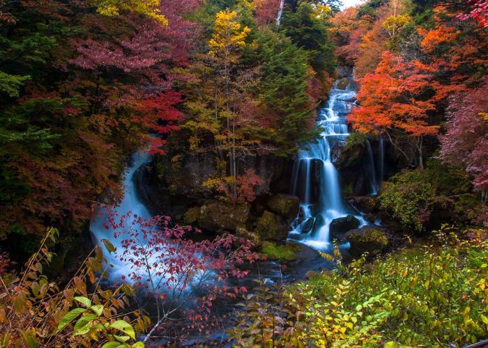 An image of Ryuzu Waterfall surrounded by red, orange and yellow trees