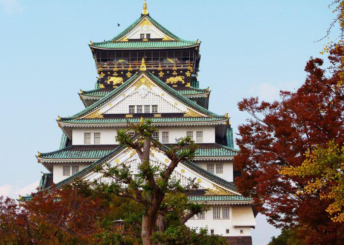The green, white and black tower of Osaka Castle with red and gold treetops in the foreground