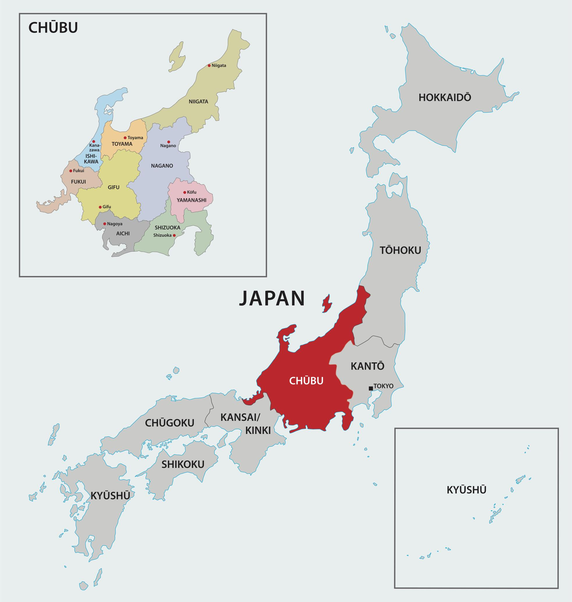 Map of Chubu region, Japan, including prefectures