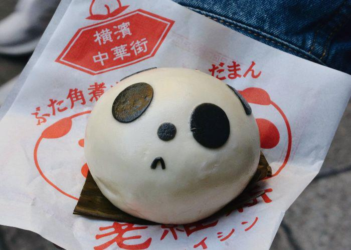 very cute panda-shaped steamed bum