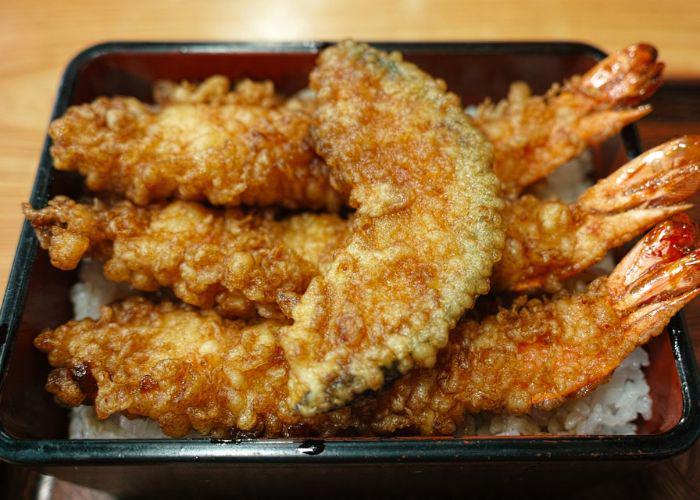 tendo with shrimp and vegetable tempura