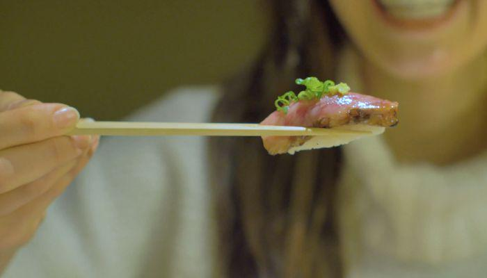 Sushi made from Japanese beef