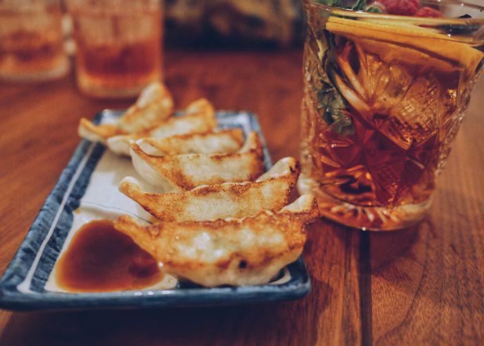 Gyoza and iced tea