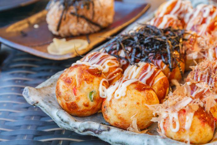 A full plate of takoyaki in Japan