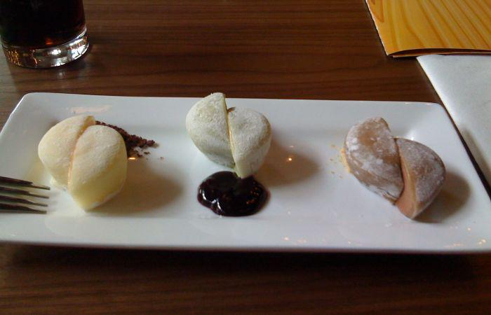 3 pieces of mochi ice cream