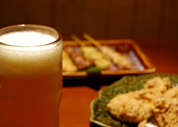 Beer, karaage, Yakitori