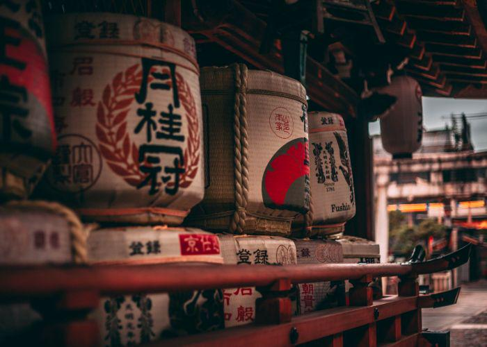Ancient sake barrels in a Japanese temple