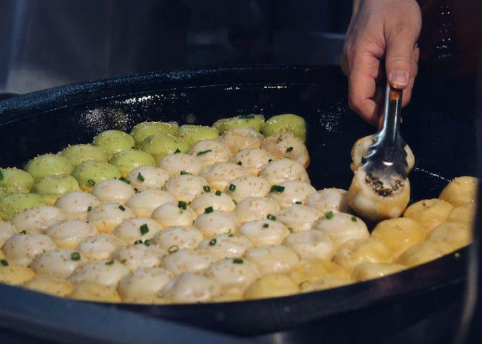 Yaki shoronpo, or pan-fried soup dumplings, a street food from Yokohama Chinatown in Japan