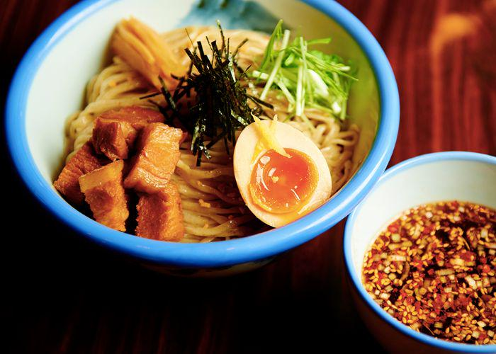 A bowl of Afuri Tsukemen, ramen noodles served separately from the dipping sauce