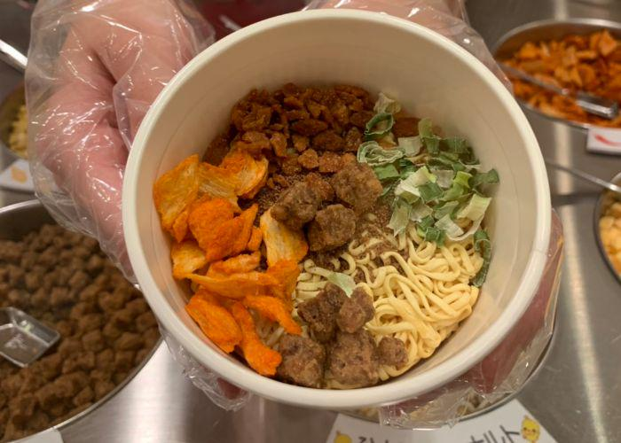 Emilie's Cup Noodle shot from above, showing various toppings