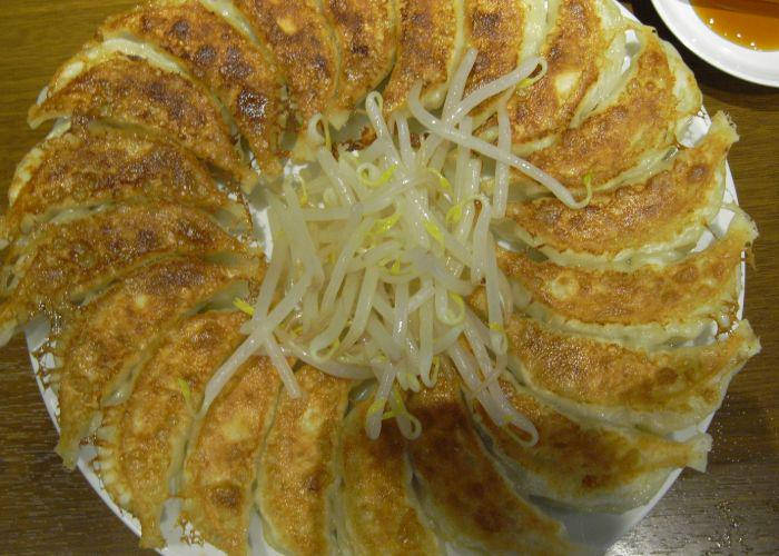 A plate of crispy gyozas in a circle with a bunch of beansprouts on top