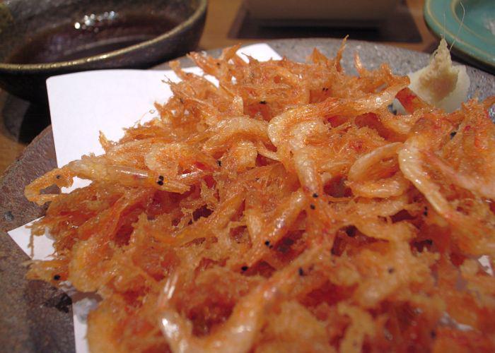 A plate full of fried Sakura Ebi, tiny little prawns
