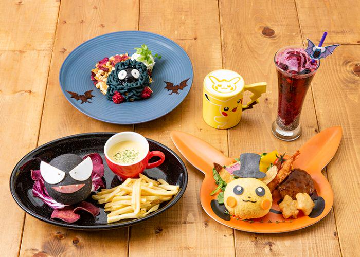 Several Pokemon-themed foods from the Pokemon Cafe, such as Pikachu-shaped omurice and Pikachu latte