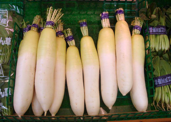 Several daikon that are wrapped