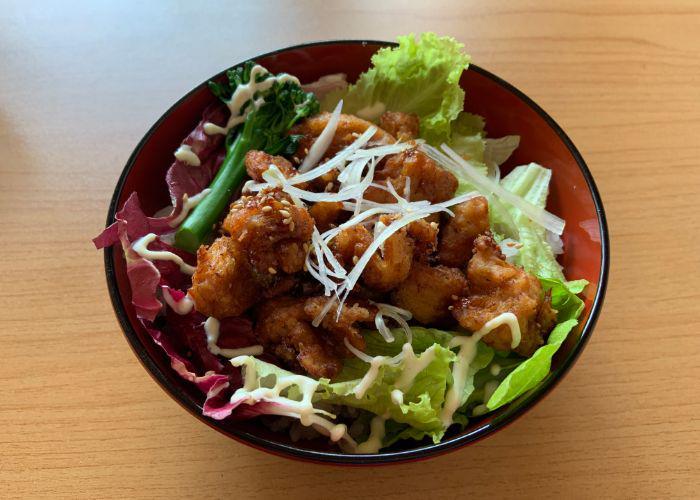 "A bowl of vegan karaage fried ""chicken"" from Onwa, a vegan restaurant in Nara"