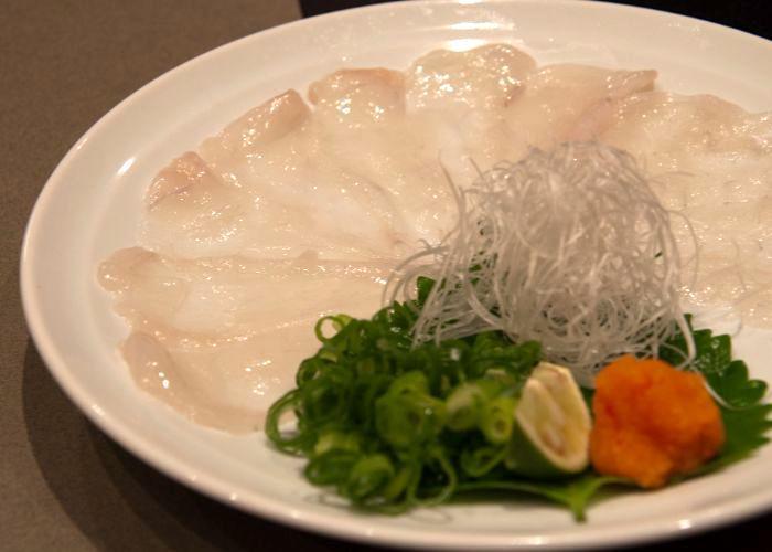 Platter of fugu sashimi, pufferfish sashimi from Guenpin Fugu