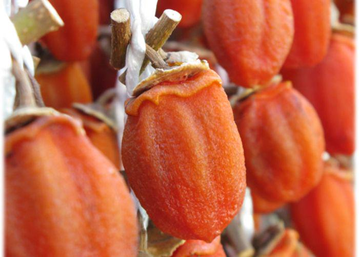 Vibrant orange dried kaki, persimmons, hanging on a string