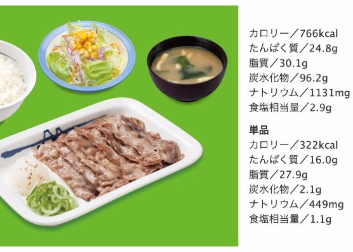 Matsuya beef bowl with nutritional info
