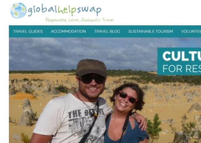 The home page of travel website Globalhelpswap