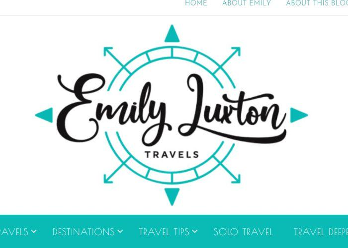 The home page for Emily Luxton Travels blog