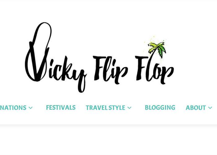 The web page for Vicky flip flop Travels
