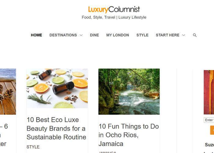 The Luxury Columnist blog homepage