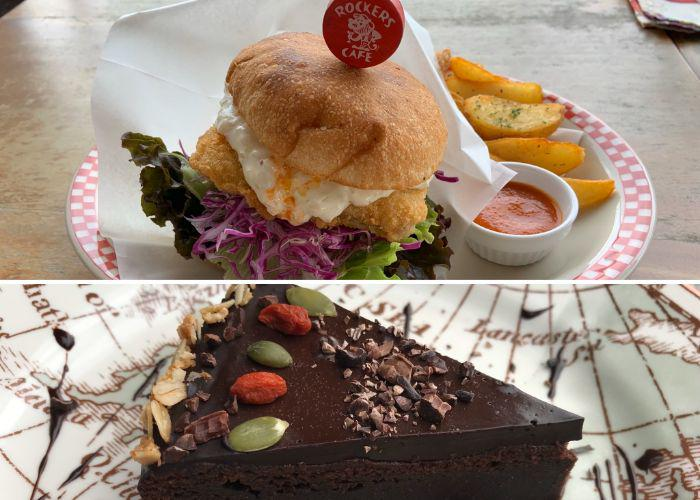 Vegan burger and a slice of pie from Rockers Cafe, a vegan-friendly Okinawa restaurant