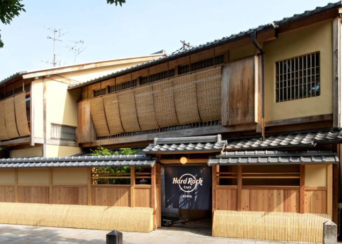 Exterior of the Hard Rock Cafe in Kyoto, traditional wooden Japanese design