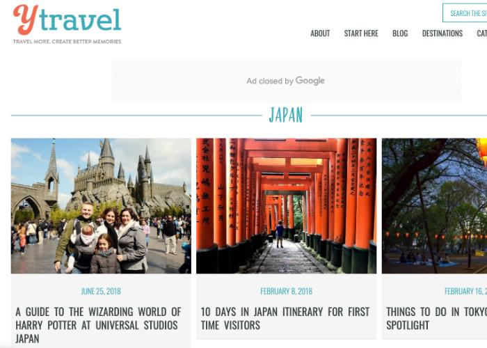 yTravel Blog Homepage, an Australian travel blog with pictures from Nara and Universal Studios Osaka in Japan