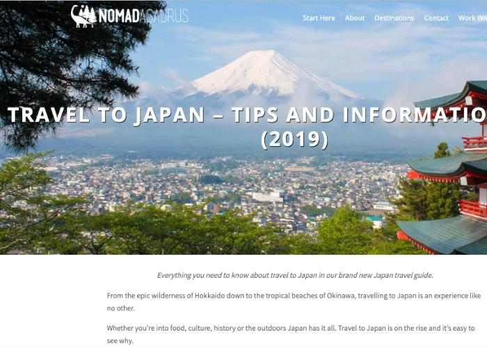 Homepage for NOMADasaurus, an Aussie travel blog, featuring Japan travel tips and tricks
