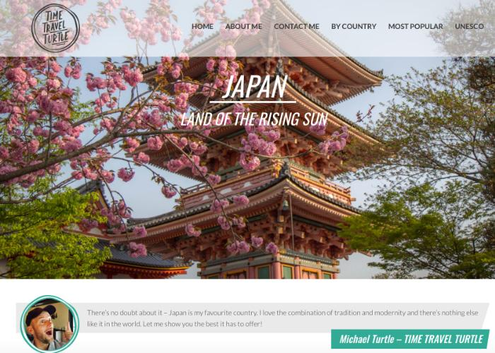 Time Travel Turtle homepage featuring Japan travel