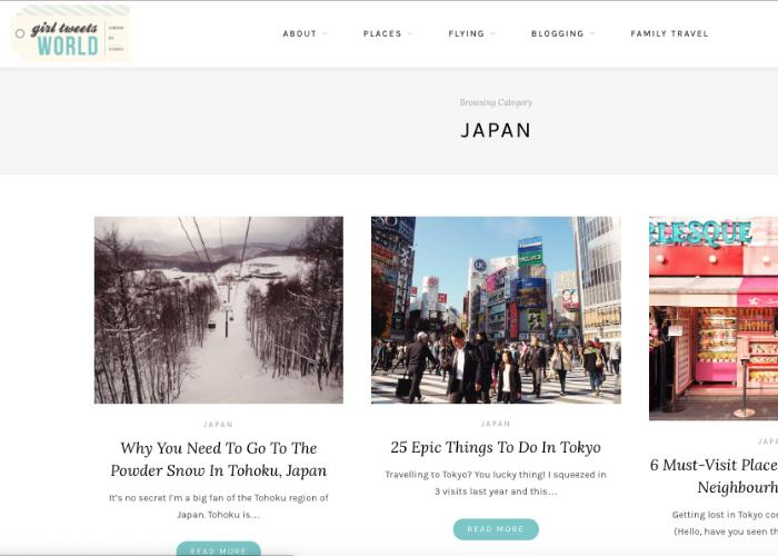 """Travel blog homepage featuring """"25 Epic Things To Do In Tokyo"""" and more Japan travel tips"""
