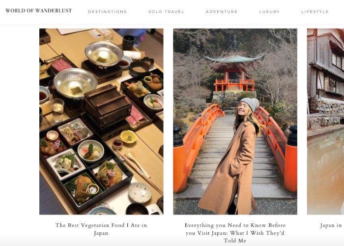 """Japan travel homepage for World of Wanderlust, featuring articles like """"The Best Vegetarian Food I Ate in Japan"""""""