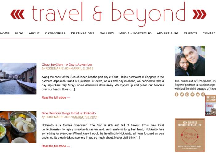 """Travel and Beyond webpage featuring """"Nine Delicious Things to Eat in Hokkaido"""" and more"""